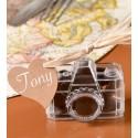 Boîtes à dragées appareil photo transparent 6 cm les 4
