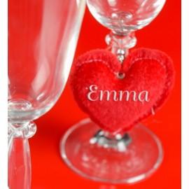 Coeur rouge décoratif fausse fourrure 7.5 cm les 2