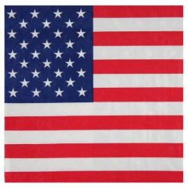 Serviettes de table Amérique drapeau américain papier les 20