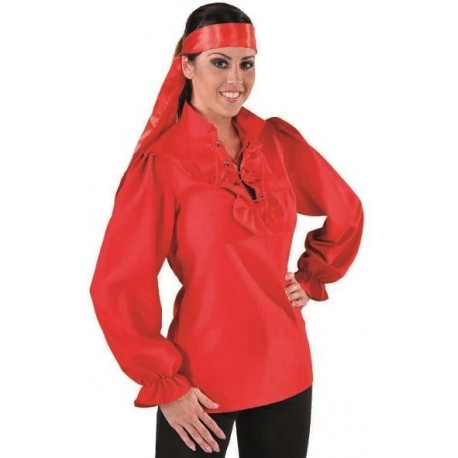 Déguisement chemise pirate rouge femme luxe