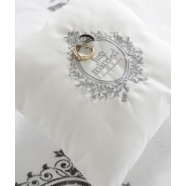 Coussin alliances Just Married Blanc en coton