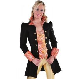 Déguisement marquise manteau noir rouge femme luxe