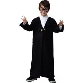Déguisement magicien sorcier garçon manteau noir luxe