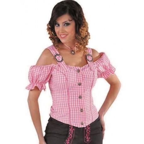 Déguisement blouse tyrolienne vichy rose femme luxe
