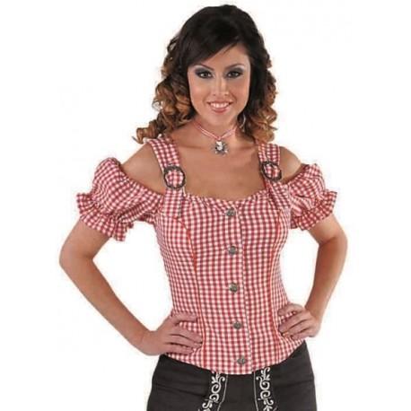 Déguisement blouse tyrolienne vichy rouge femme luxe