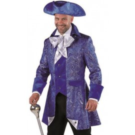 Déguisement marquis veste de brocart bleu cobalt homme luxe