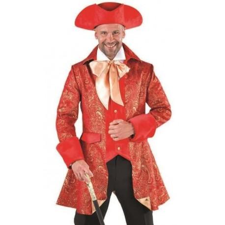 Déguisement marquis veste de brocart rouge homme luxe