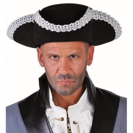 Chapeau tricorne noir argent adulte luxe