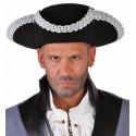 Chapeau tricorne noir galon argent adulte luxe