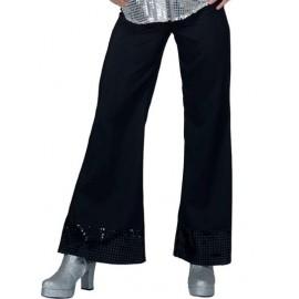 Déguisement pantalon disco noir femme à sequin