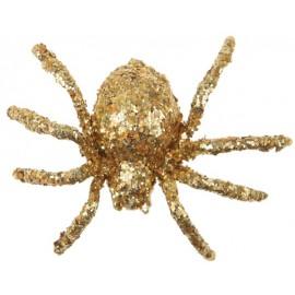 Araignée pailletée or 6.5 cm les 6
