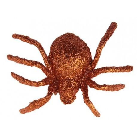 Araignée pailletée orange 6.5 cm les 6