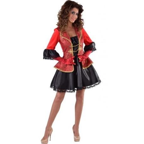 Déguisement marquise baroque femme luxe rouge noir