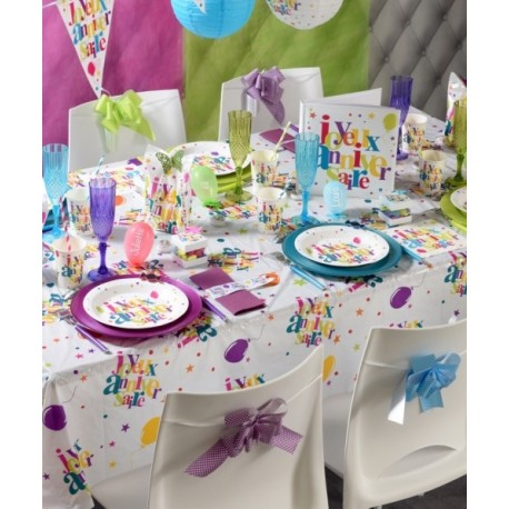 nappe plastique joyeux anniversaire festif 132 x 220 cm. Black Bedroom Furniture Sets. Home Design Ideas