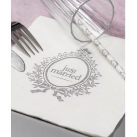 Serviettes de Table Just Married Papier Blanc Cassé les 20
