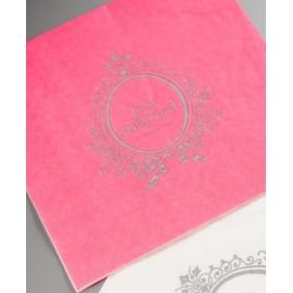Serviette de table just married fuchsia papier les 20