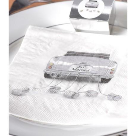 Serviette de table car just married blanc papier les 10