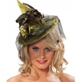 Mini chapeau sorcière vert femme
