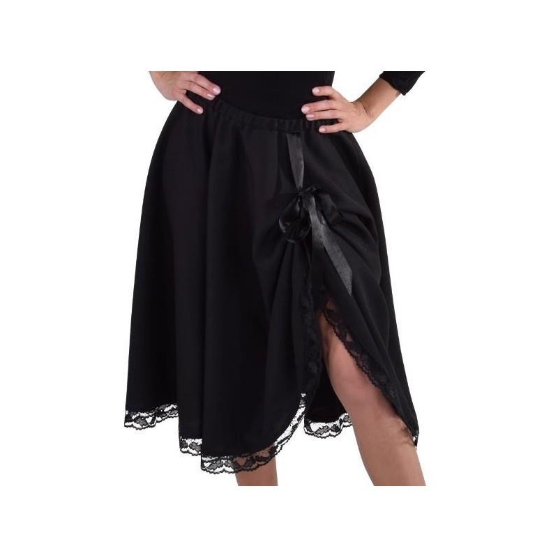 jupe mi longue noire avec dentelle femme luxe d guisement. Black Bedroom Furniture Sets. Home Design Ideas