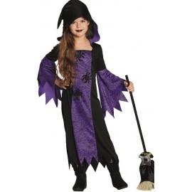Déguisement sorcière araignée fille violet noir
