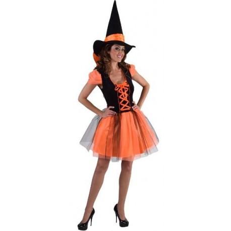 Déguisement sorcière orange noire femme luxe