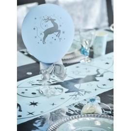 Chemin de table Renne bleu ciel argent 5 M