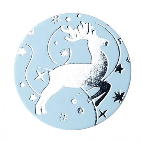 Confettis Renne bleu ciel argent 2 cm les 50