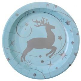 Assiettes carton Renne de Noël bleu ciel 22.5 cm x10