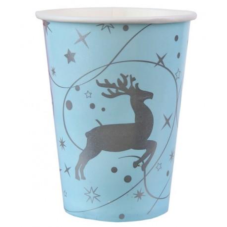 Gobelets carton Renne de Noël bleu ciel les 10