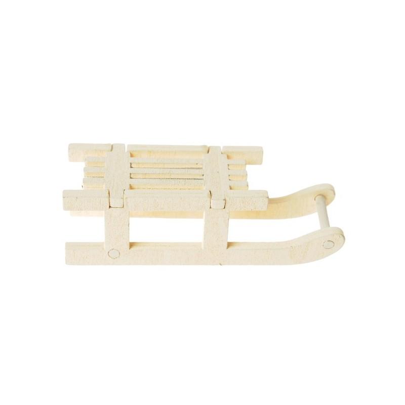 Luge En Bois Deco : Petites luges d?co en bois naturel 7.8 cm les 4