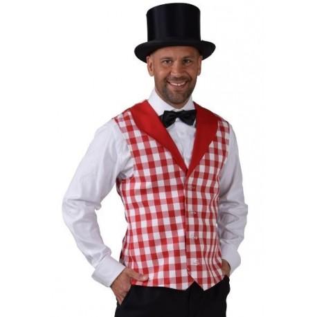 Déguisement gilet damier rouge blanc homme luxe