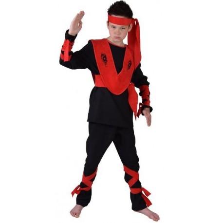 Déguisement ninja garçon luxe noir rouge