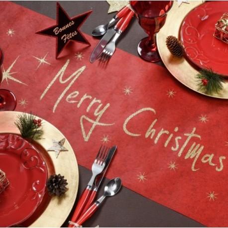 Chemin de table Noël rouge or Merry Christmas intissé 5 M