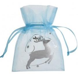 Sachets à dragées renne de Noël organdi bleu ciel les 4