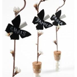 Ardoise papillon sur pince en bois couleur les 6