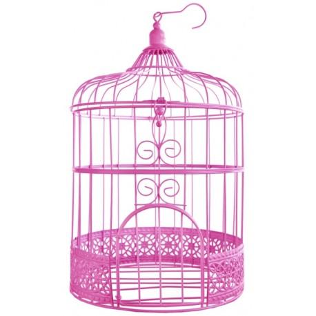 Tirelire cage à oiseaux fuchsia 31 cm
