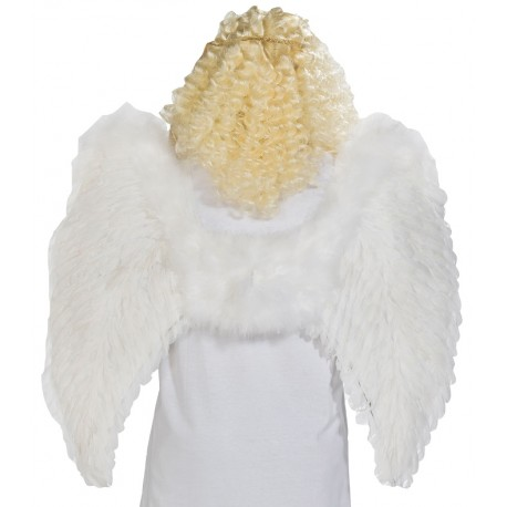 Ailes d'ange plumes blanches adulte 87 x 72 cm