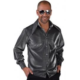 Déguisement chemise disco argent lurex homme luxe
