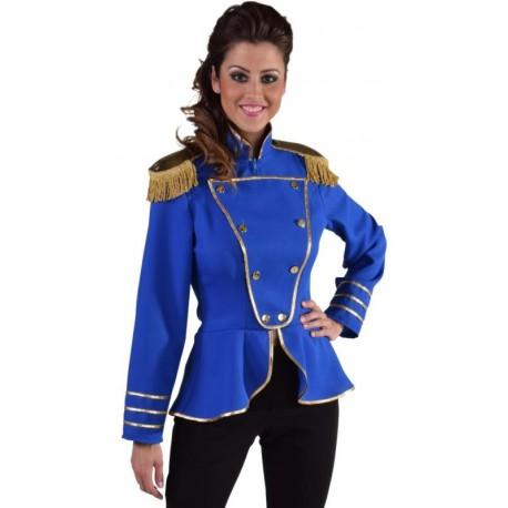 Déguisement veste harmonie bleu cobalt femme luxe