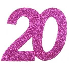 Confettis anniversaire 20 ans fuchsia pailleté les 6