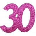 Confettis anniversaire 30 ans fuchsia pailleté les 6