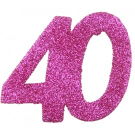 Confettis anniversaire 40 ans fuchsia pailleté les 6