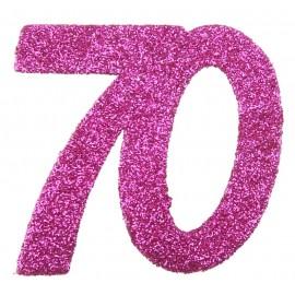Confettis anniversaire 70 ans fuchsia pailleté les 6