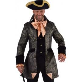 Déguisement marquis veste de brocart noir homme luxe