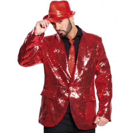 Déguisement veste disco show rouge sequin homme