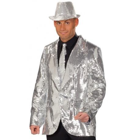 Déguisement veste disco argent à paillettes homme