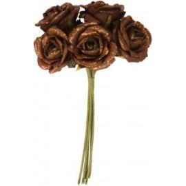 Roses Pailletées sur tige les 5