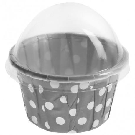 Boîte à dragées Cupcake gris à pois blancs les 6