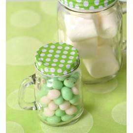Pot à dragées en verre couvercle vert à pois 8.5 cm les 24
