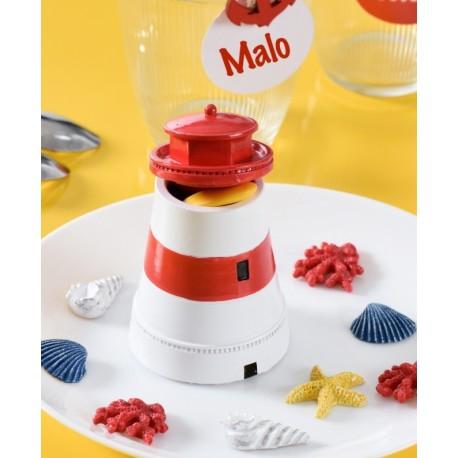 Boîte à dragées phare blanc rouge 9.5 cm les 10